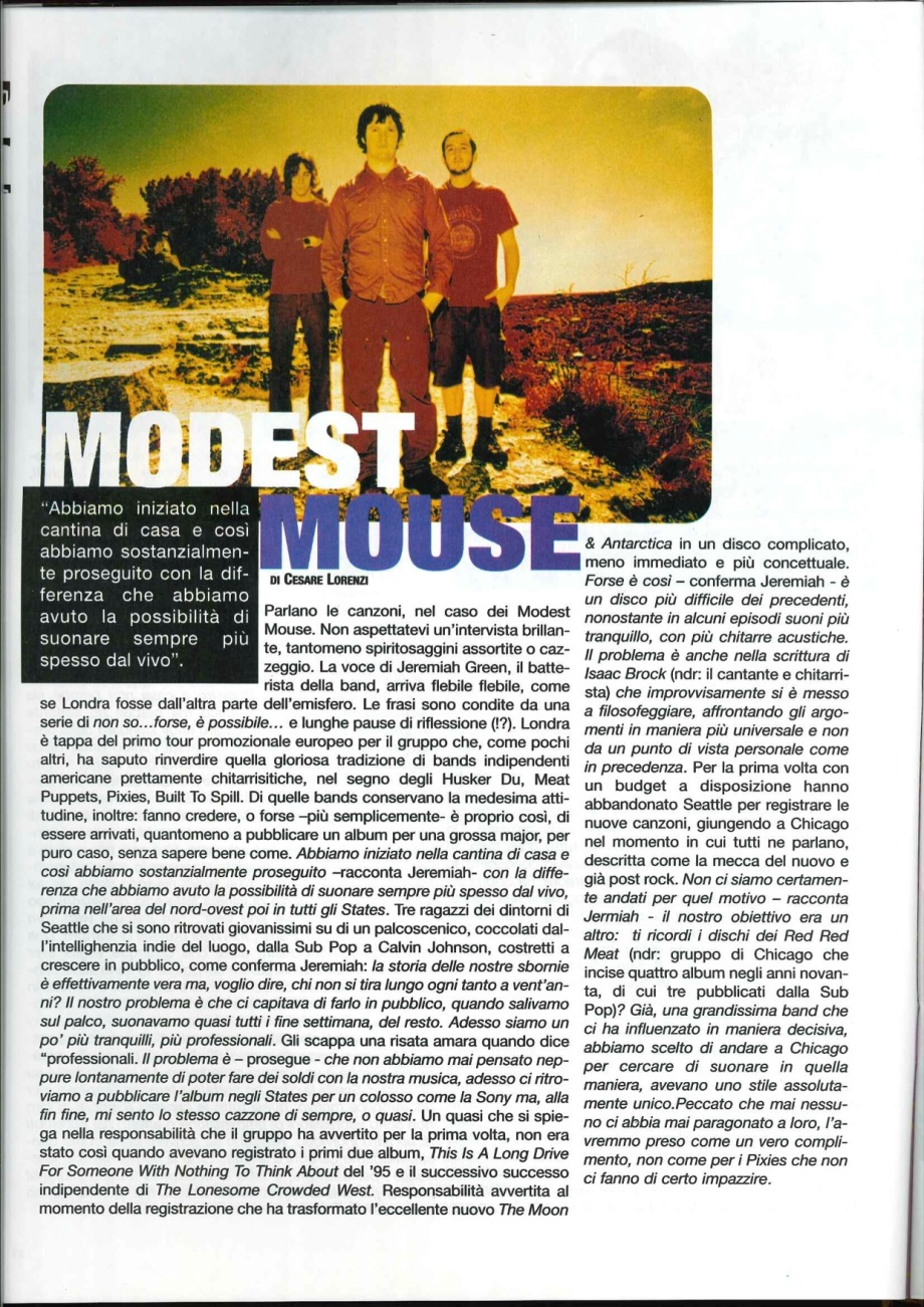 modest mouse intervista 09-2000