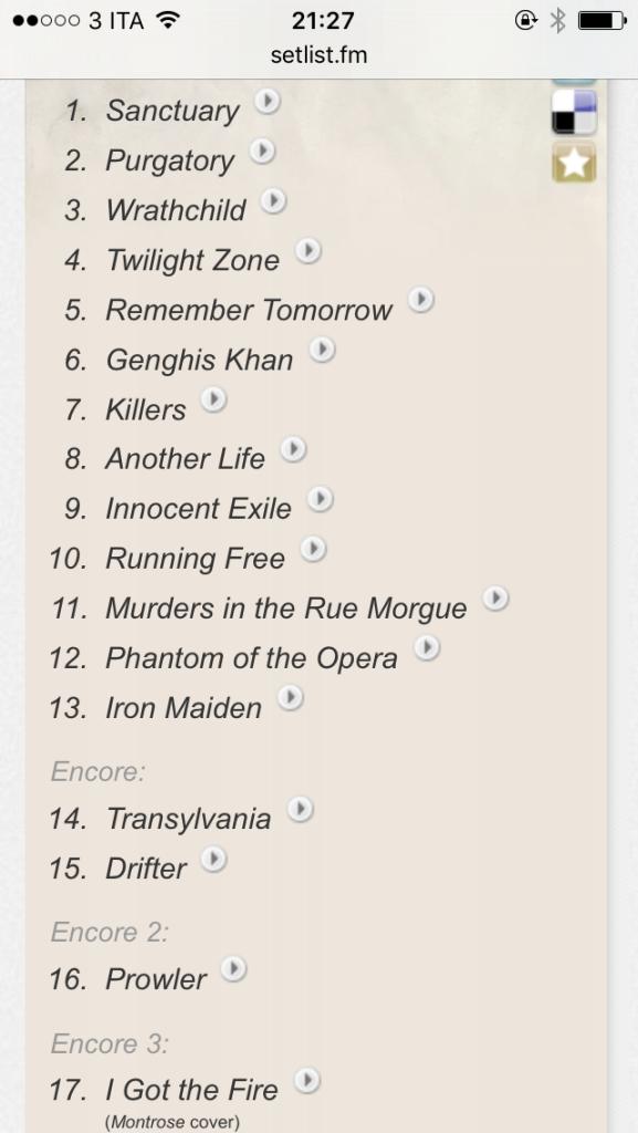 Iron Maiden setlist. Palasport Bologna 26/10/1981